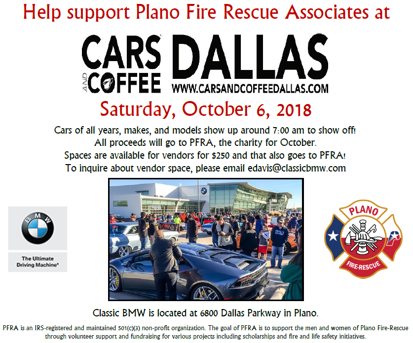 Cars And Coffee Event Benefiting PFRA Plano FireRescue Associates - Bmw plano car show